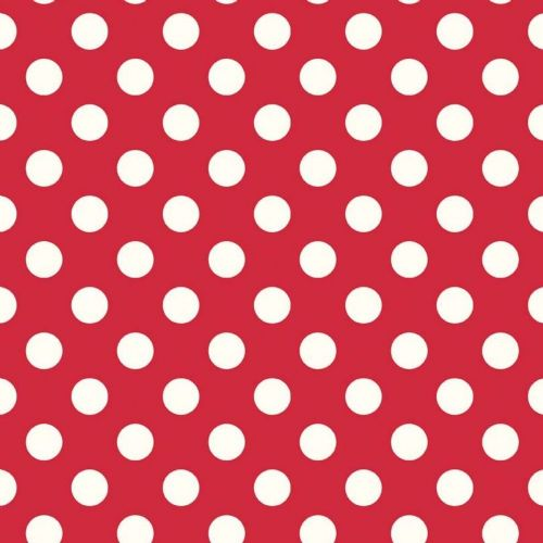 "Riley Blake -  Dots (Red/Antique)   3/4"" (1.75cm) spot Fabric"